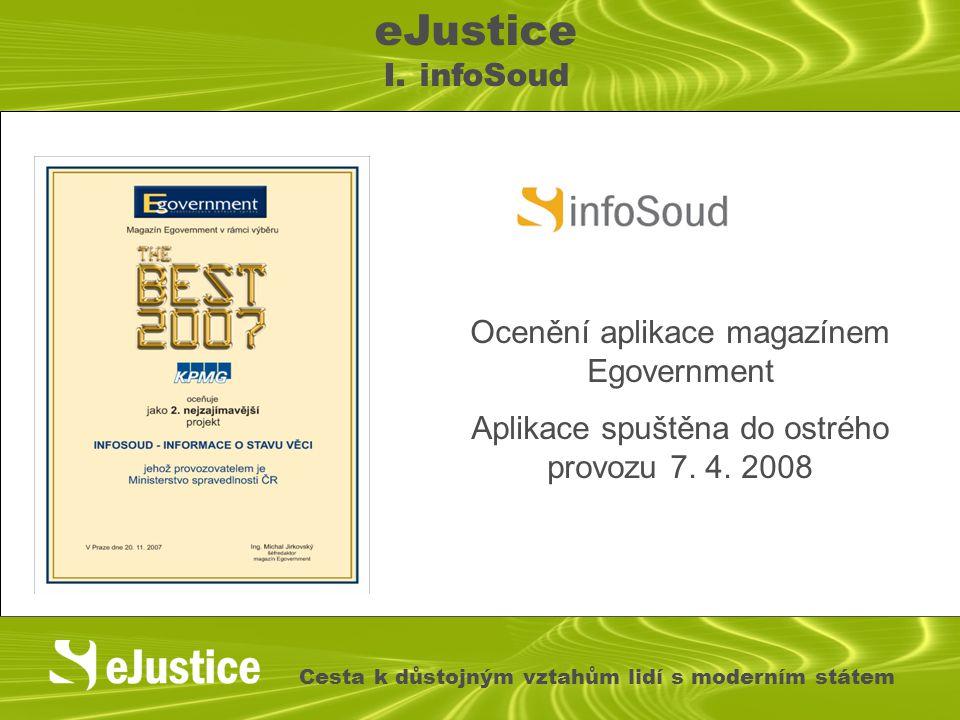 Ocenění aplikace magazínem Egovernment Aplikace spuštěna do ostrého provozu 7. 4. 2008 eJustice I. infoSoud Cesta k důstojným vztahům lidí s moderním