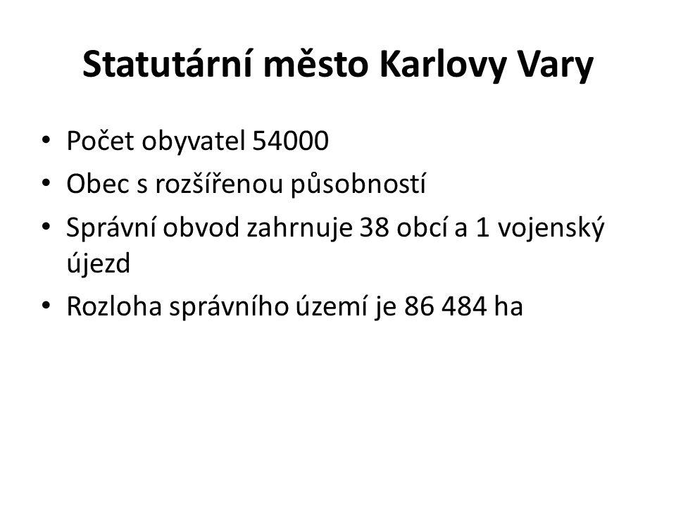 Statutární město Karlovy Vary Počet obyvatel 54000 Obec s rozšířenou působností Správní obvod zahrnuje 38 obcí a 1 vojenský újezd Rozloha správního úz
