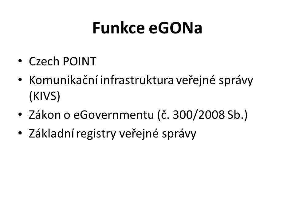 Funkce eGONa Czech POINT Komunikační infrastruktura veřejné správy (KIVS) Zákon o eGovernmentu (č. 300/2008 Sb.) Základní registry veřejné správy