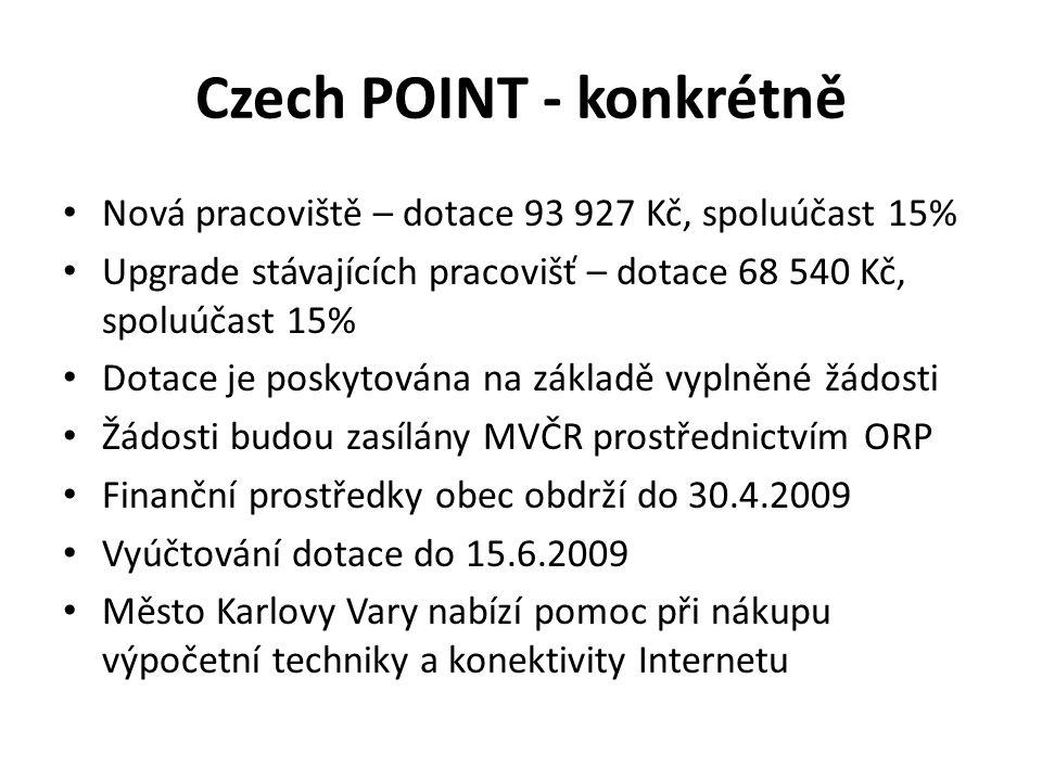 Czech POINT - konkrétně Nová pracoviště – dotace 93 927 Kč, spoluúčast 15% Upgrade stávajících pracovišť – dotace 68 540 Kč, spoluúčast 15% Dotace je
