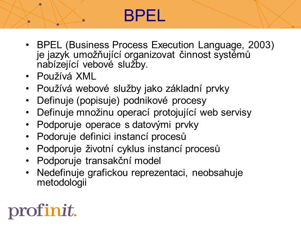BPEL BPEL (Business Process Execution Language, 2003) je jazyk umožňující organizovat činnost systémů nabízející vebové služby. Používá XML Používá we