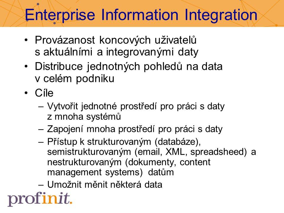 Enterprise Information Integration Provázanost koncových uživatelů s aktuálními a integrovanými daty Distribuce jednotných pohledů na data v celém pod