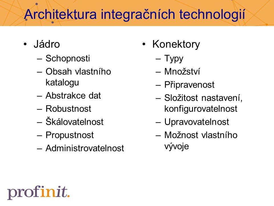 Architektura integračních technologií Jádro –Schopnosti –Obsah vlastního katalogu –Abstrakce dat –Robustnost –Škálovatelnost –Propustnost –Administrov