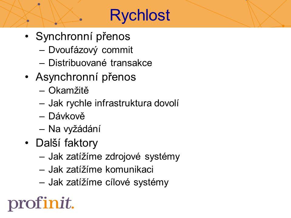 Rychlost Synchronní přenos –Dvoufázový commit –Distribuované transakce Asynchronní přenos –Okamžitě –Jak rychle infrastruktura dovolí –Dávkově –Na vyž
