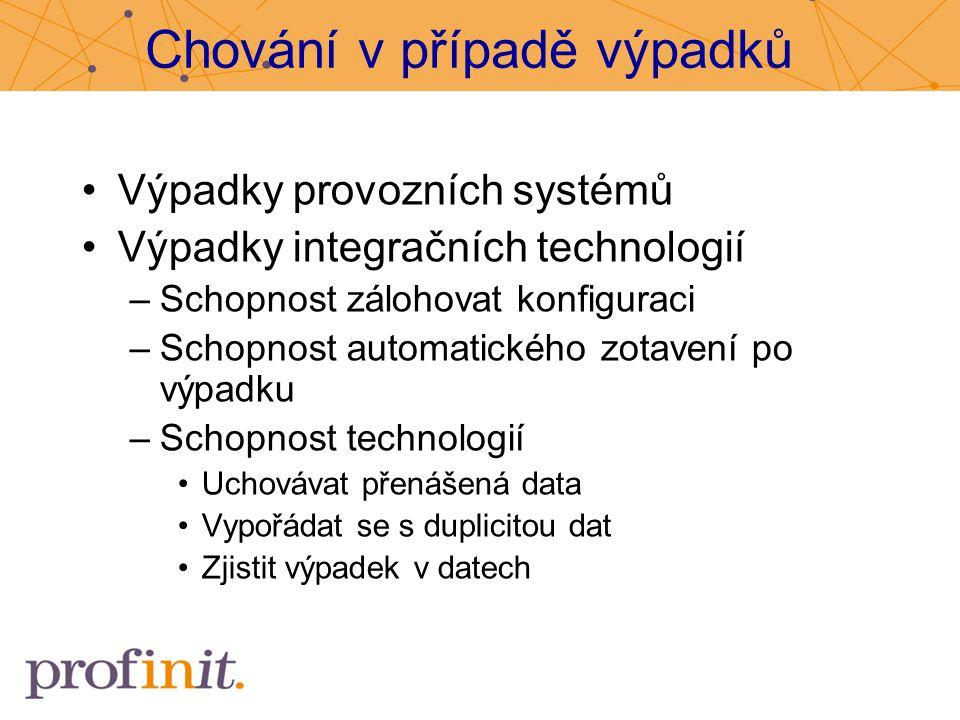 Chování v případě výpadků Výpadky provozních systémů Výpadky integračních technologií –Schopnost zálohovat konfiguraci –Schopnost automatického zotave