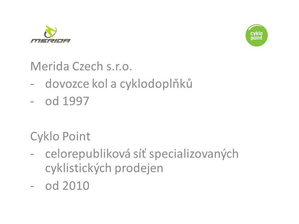 -dovozce kol a cyklodoplňků -od 1997 Cyklo Point -celorepubliková síť specializovaných cyklistických prodejen -od 2010