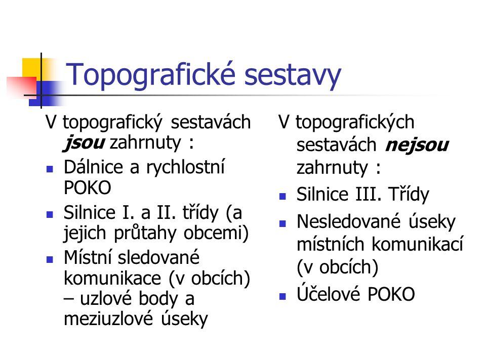 Topografické sestavy V topografický sestavách jsou zahrnuty : Dálnice a rychlostní POKO Silnice I. a II. třídy (a jejich průtahy obcemi) Místní sledov