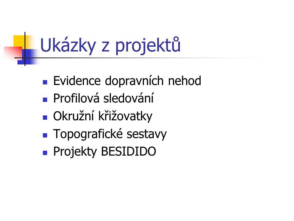 Ukázky z projektů Evidence dopravních nehod Profilová sledování Okružní křižovatky Topografické sestavy Projekty BESIDIDO