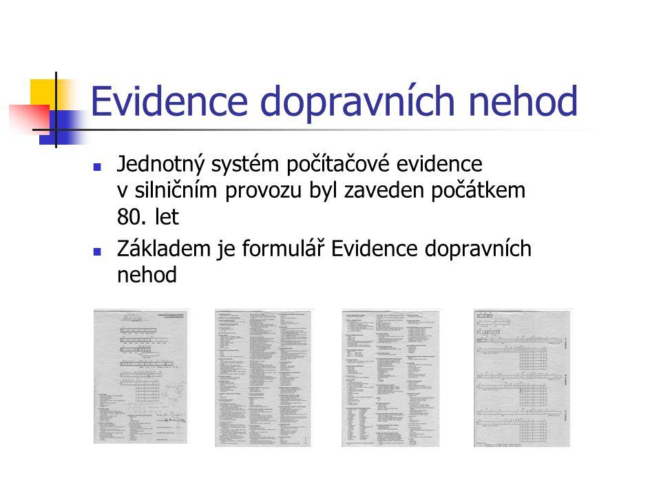 Evidence dopravních nehod Jednotný systém počítačové evidence v silničním provozu byl zaveden počátkem 80. let Základem je formulář Evidence dopravníc