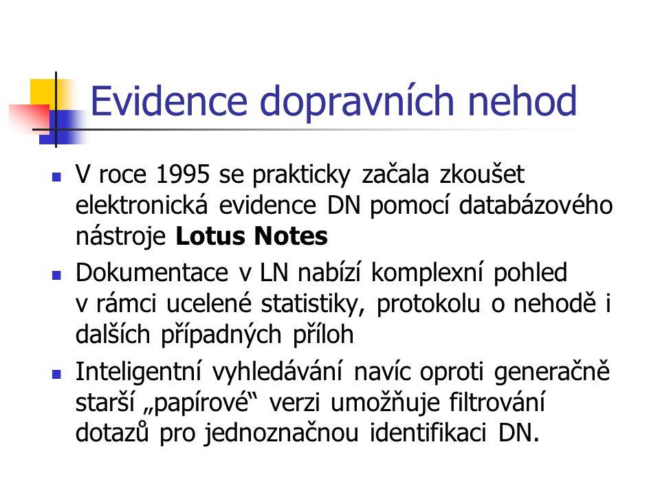 Evidence dopravních nehod V roce 1995 se prakticky začala zkoušet elektronická evidence DN pomocí databázového nástroje Lotus Notes Dokumentace v LN n