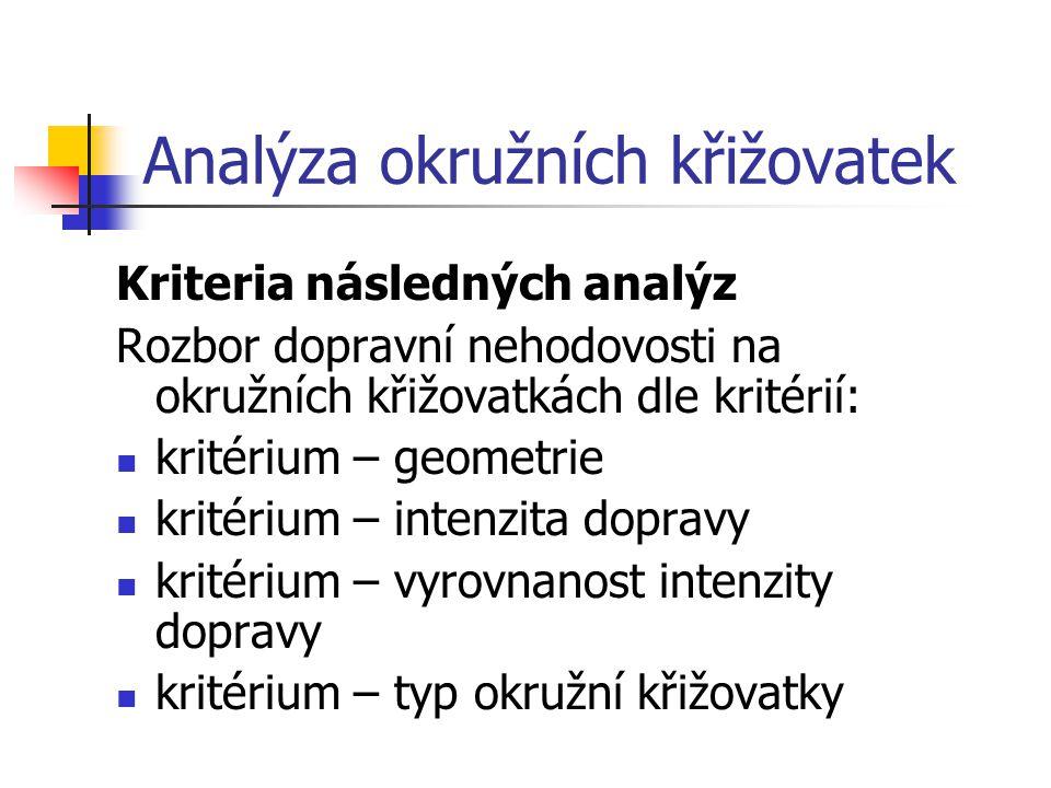 Analýza okružních křižovatek Kriteria následných analýz Rozbor dopravní nehodovosti na okružních křižovatkách dle kritérií: kritérium – geometrie krit
