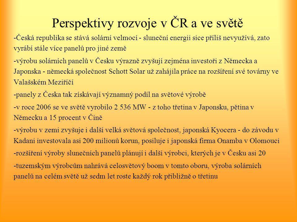 Perspektivy rozvoje v ČR a ve světě -Česká republika se stává solární velmocí - sluneční energii sice příliš nevyužívá, zato vyrábí stále více panelů