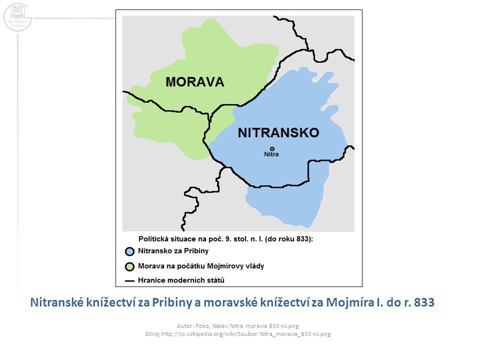 Nitranské knížectví za Pribiny a moravské knížectví za Mojmíra I.