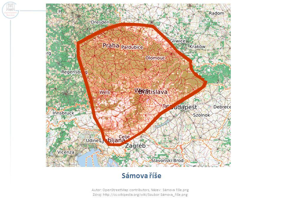 Sámova říše Autor: OpenStreetMap contributors, Název: Sámova říše.png Zdroj: http://cs.wikipedia.org/wiki/Soubor:Sámova_říše.png