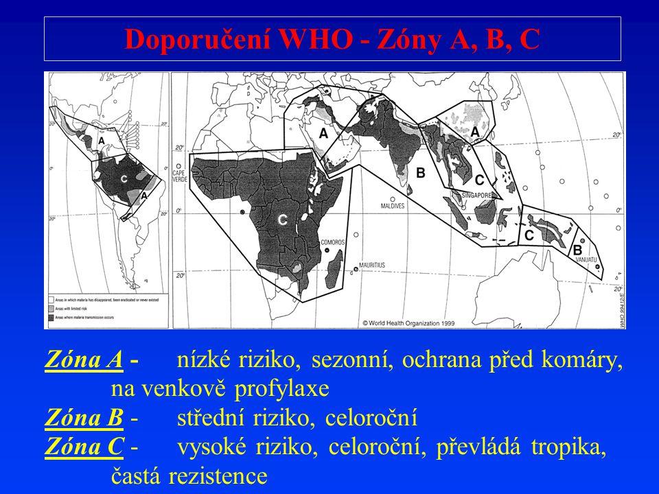 Doporučení WHO - Zóny A, B, C Zóna A - nízké riziko, sezonní, ochrana p ř ed komáry, na venkov ě profylaxe Zóna B - st ř ední riziko, celoro č ní Zóna
