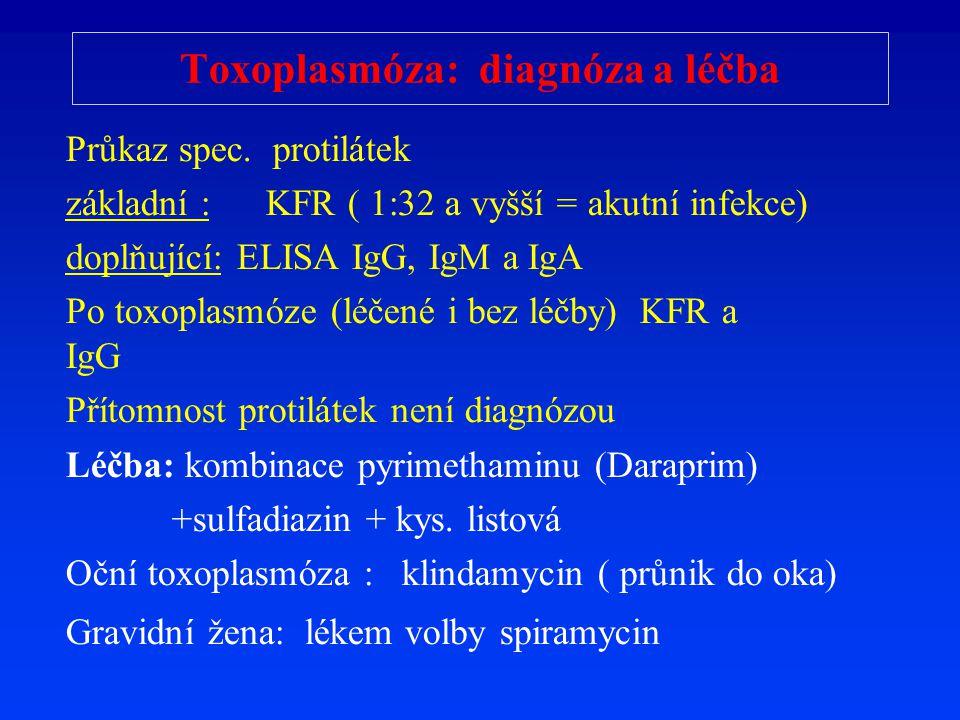 Toxoplasmóza: diagnóza a léčba Průkaz spec. protilátek základní : KFR ( 1:32 a vyšší = akutní infekce) doplňující: ELISA IgG, IgM a IgA Po toxoplasmóz