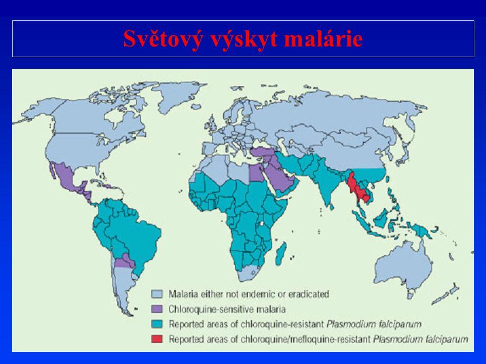 Světový výskyt malárie