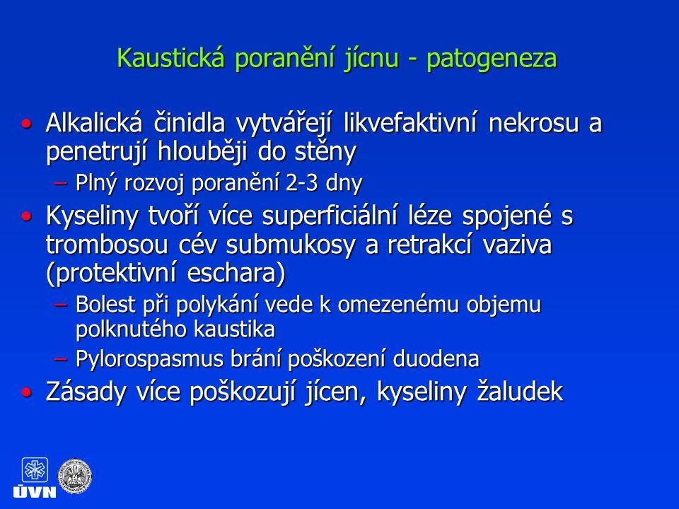 Kaustická poranění jícnu - symptomatologie Závislá na objemu, složení a koncentraci kaustikaZávislá na objemu, složení a koncentraci kaustika Nauzea, zvracení, hematemezaNauzea, zvracení, hematemeza Orofaryngeální, retrosternální či epigastrická bolestOrofaryngeální, retrosternální či epigastrická bolest Odynofagie, dysafgieOdynofagie, dysafgie HypersalivaceHypersalivace Chrapot, stridor, dyspnea – poškození epiglottis, larynguChrapot, stridor, dyspnea – poškození epiglottis, laryngu U nejasné anamnesy aktivně hledat známky poleptání na obličeji, končetináchU nejasné anamnesy aktivně hledat známky poleptání na obličeji, končetinách