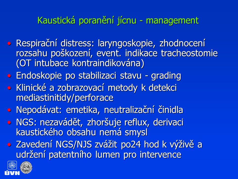 Kaustická poranění jícnu – management dle endoskopického gradingu Žádná nebo minimální léze: dimiseŽádná nebo minimální léze: dimise Stupeň 1-2A: bez specifické léčby, tekutá dieta na 24-48 hodStupeň 1-2A: bez specifické léčby, tekutá dieta na 24-48 hod Stupeň 2B-3A:Stupeň 2B-3A: –enterální výživa po 24 hod –PO tekutiny po 48 hod, polkne-li sliny –ATB ani kortikoidy nejsou indikované