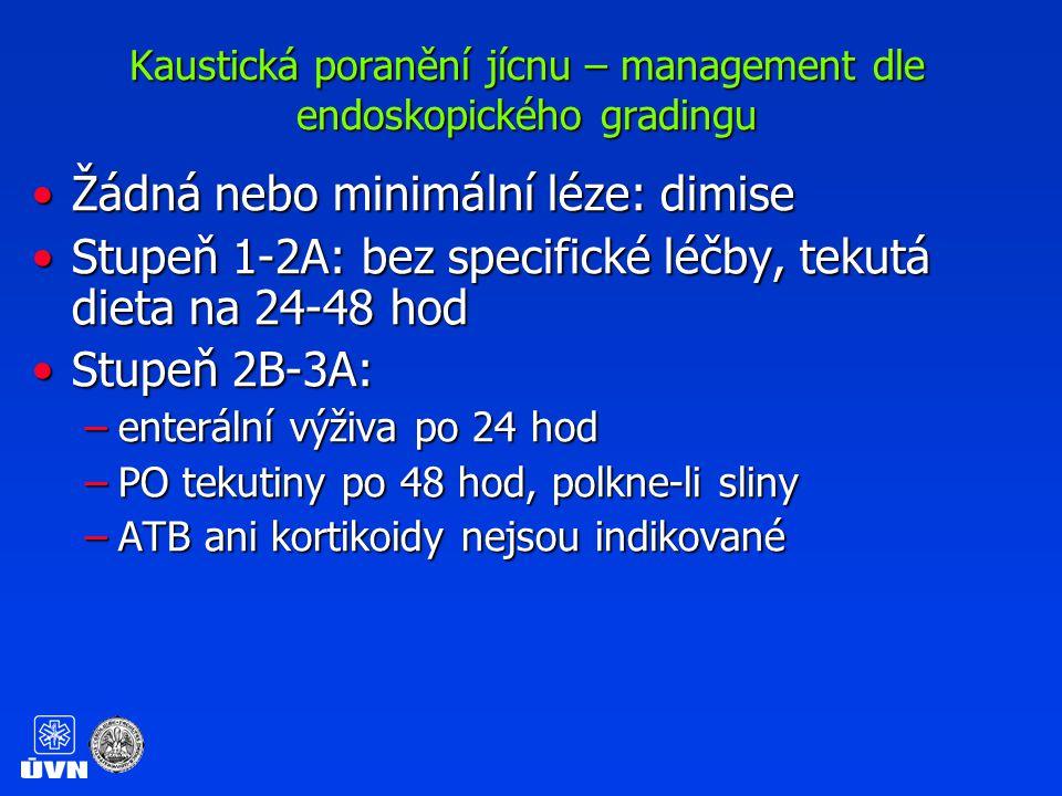 Kaustická poranění jícnu – management dle endoskopického gradingu Stupeň 3B:Stupeň 3B: –Minimálně týdenní ICU observace pro riziko perforace –Preventivní stentáž není dle EBM indikována –Pilotní studie s plastovými stenty u dětí –U známek mediastinitidy/perforace chirurgické řešení