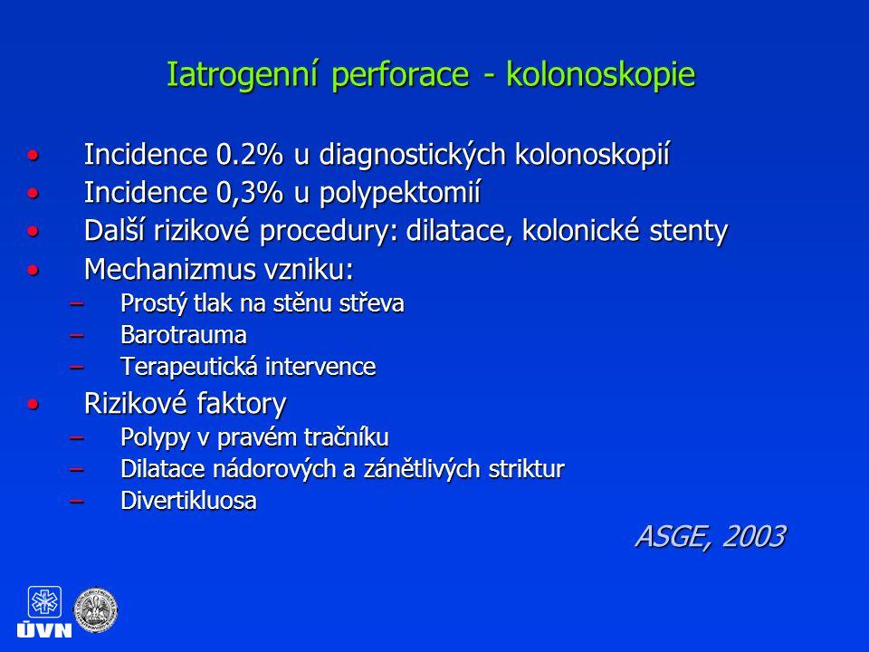 Iatrogenní perforace – léčebná opatření Monitorace vitálních fcíMonitorace vitálních fcí Nic per os, zavedení NGSNic per os, zavedení NGS Žilní přístup, širokospektrá ATBŽilní přístup, širokospektrá ATB Nativní snímek hrudníku, břichaNativní snímek hrudníku, břicha CT břicha a malé pánve (přesnější než nativní snímek)CT břicha a malé pánve (přesnější než nativní snímek) Chirurgické vyšetřeníChirurgické vyšetření