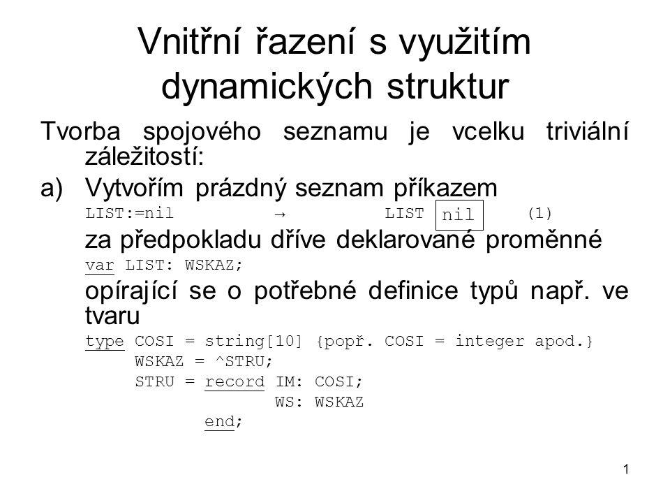1 Vnitřní řazení s využitím dynamických struktur Tvorba spojového seznamu je vcelku triviální záležitostí: a)Vytvořím prázdný seznam příkazem LIST:=nil → LIST (1) za předpokladu dříve deklarované proměnné var LIST: WSKAZ; opírající se o potřebné definice typů např.