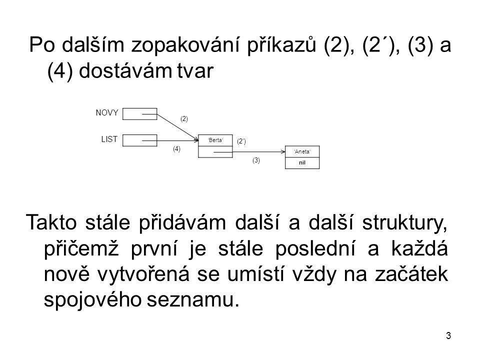 3 Po dalším zopakování příkazů (2), (2´), (3) a (4) dostávám tvar Takto stále přidávám další a další struktury, přičemž první je stále poslední a každá nově vytvořená se umístí vždy na začátek spojového seznamu.
