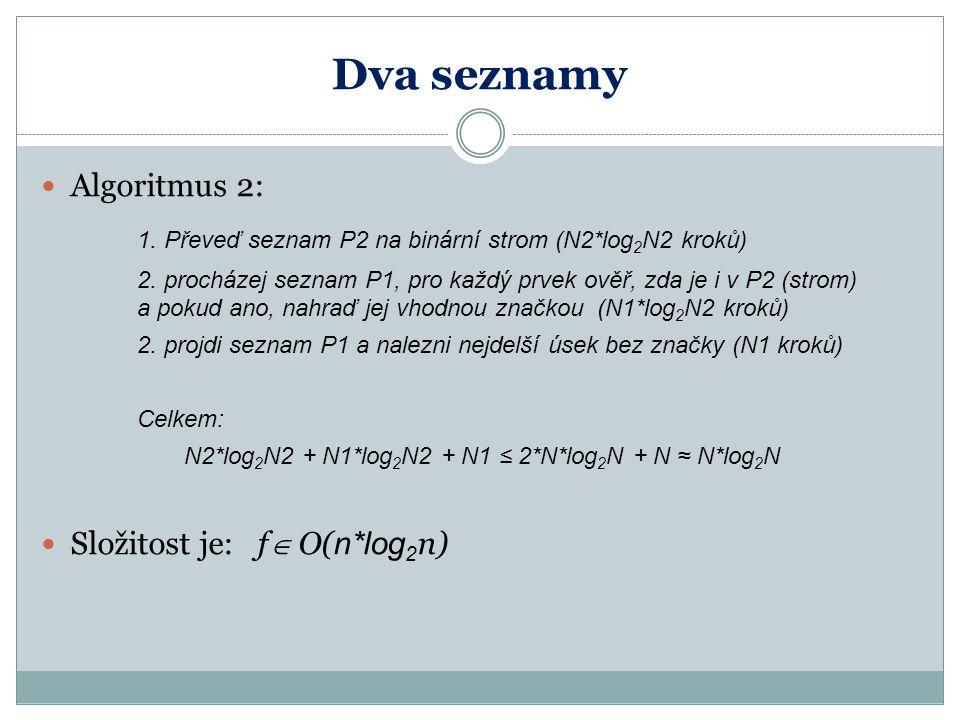 Dva seznamy Algoritmus 2: 1. Převeď seznam P2 na binární strom (N2*log 2 N2 kroků) 2.