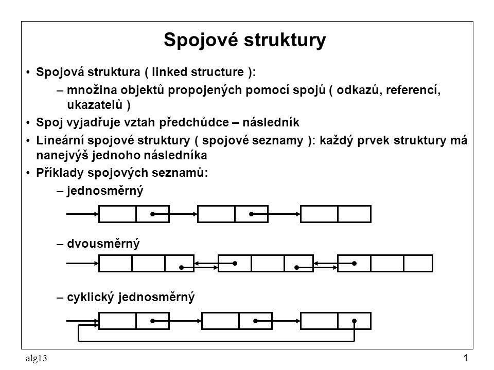 alg131 Spojové struktury Spojová struktura ( linked structure ): –množina objektů propojených pomocí spojů ( odkazů, referencí, ukazatelů ) Spoj vyjad