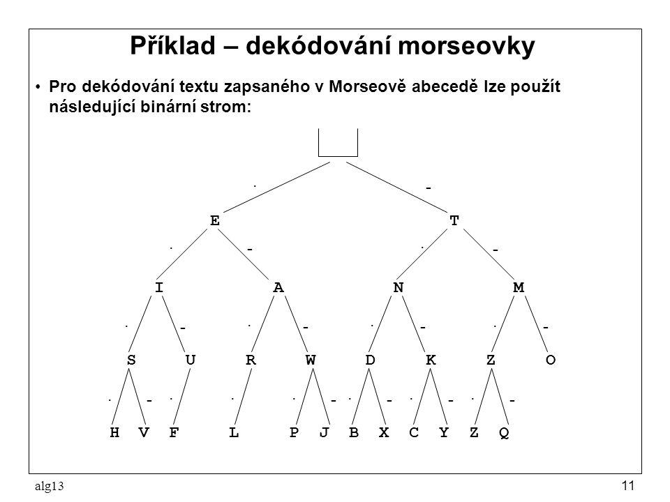alg1311 Příklad – dekódování morseovky Pro dekódování textu zapsaného v Morseově abecedě lze použít následující binární strom: H V F L P J B X C Y Z Q
