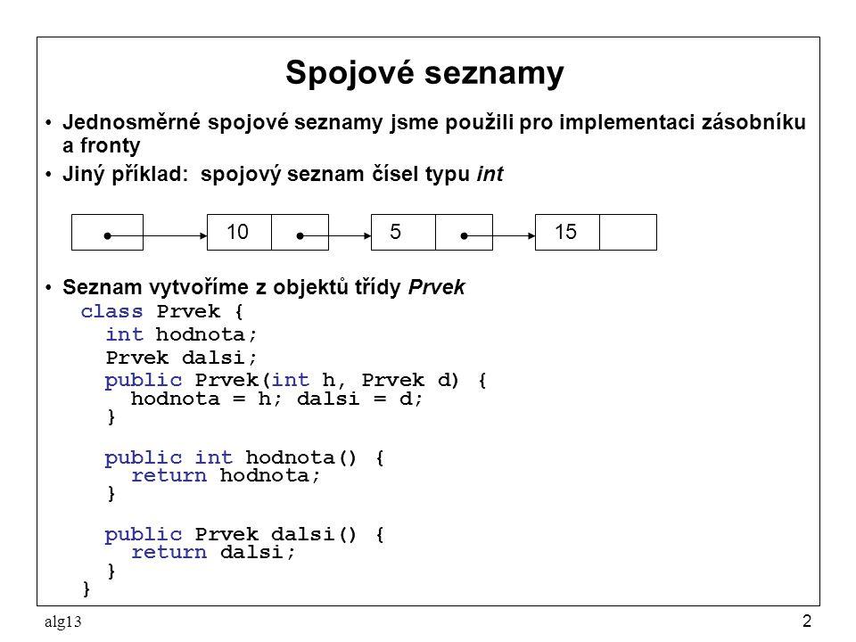 alg132 Jednosměrné spojové seznamy jsme použili pro implementaci zásobníku a fronty Jiný příklad: spojový seznam čísel typu int Seznam vytvoříme z obj