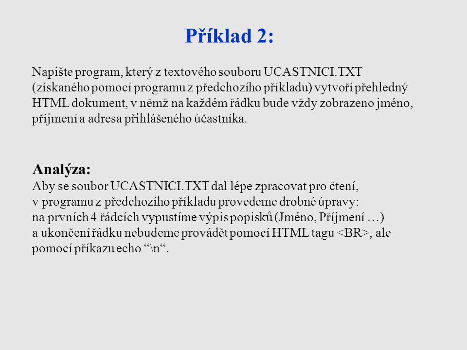 Příklad 2: Napište program, který z textového souboru UCASTNICI.TXT (získaného pomocí programu z předchozího příkladu) vytvoří přehledný HTML dokument, v němž na každém řádku bude vždy zobrazeno jméno, příjmení a adresa přihlášeného účastníka.