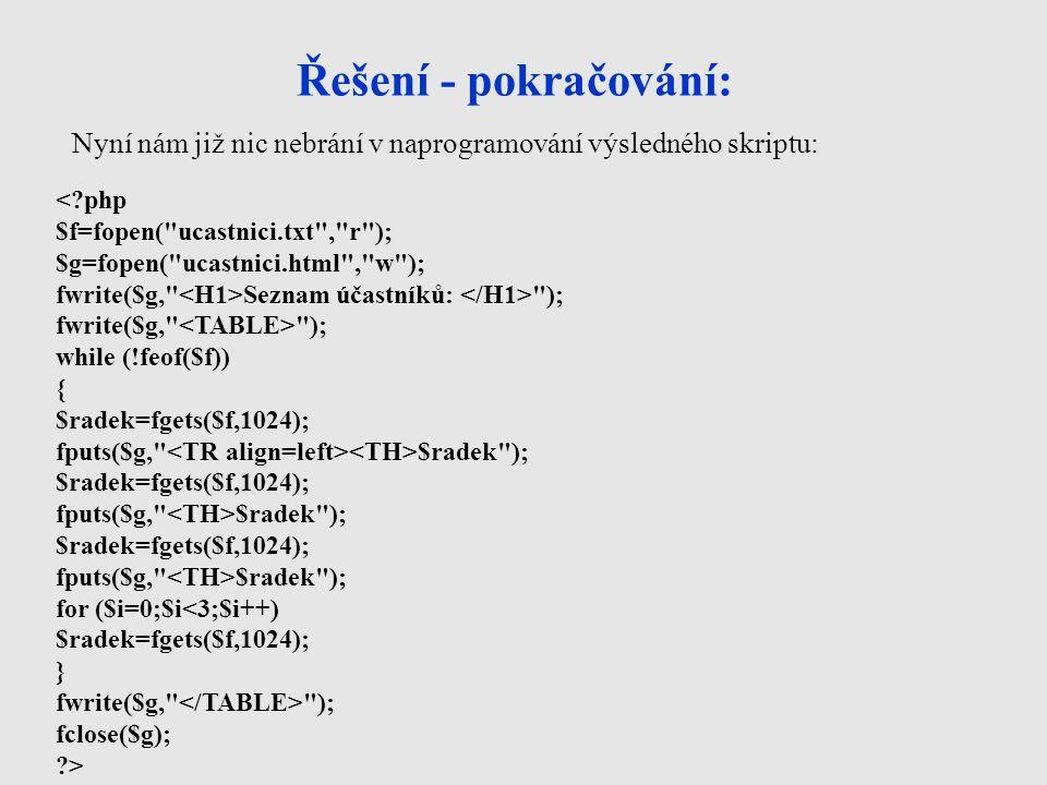Řešení - pokračování: < php $f=fopen( ucastnici.txt , r ); $g=fopen( ucastnici.html , w ); fwrite($g, Seznam účastníků: ); fwrite($g, ); while (!feof($f)) { $radek=fgets($f,1024); fputs($g, $radek ); $radek=fgets($f,1024); fputs($g, $radek ); $radek=fgets($f,1024); fputs($g, $radek ); for ($i=0;$i<3;$i++) $radek=fgets($f,1024); } fwrite($g, ); fclose($g); > Nyní nám již nic nebrání v naprogramování výsledného skriptu: