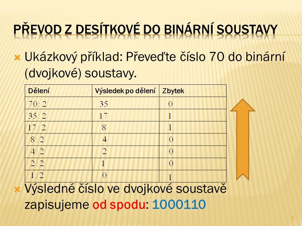  řešení pomocí cyklu řízeného podmínkou na začátku cyklu  číslice nového čísla v binární soustavě se budou vypisovat při každém průchodu cyklem  X – číslo v desítkové soustavě, zadáváme zvenčí  Y – zbytek po dělení dvěma, cifra nového čísla  POM – pomocná buňka, ukládá se výsledek dělení 3