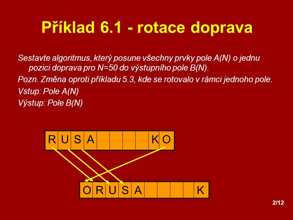 2/12 Příklad 6.1 - rotace doprava Sestavte algoritmus, který posune všechny prvky pole A(N) o jednu pozici doprava pro N=50 do výstupního pole B(N). P