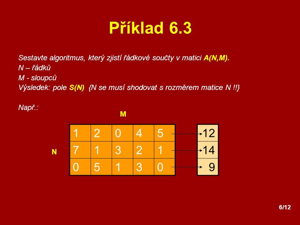 6/12 Příklad 6.3 Sestavte algoritmus, který zjistí řádkové součty v matici A(N,M). N – řádků M - sloupců Výsledek: pole S(N) {N se musí shodovat s roz