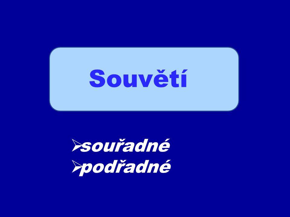 Souvětí souřadné Má dvě věty hlavní a libovolný počet vět vedlejších.