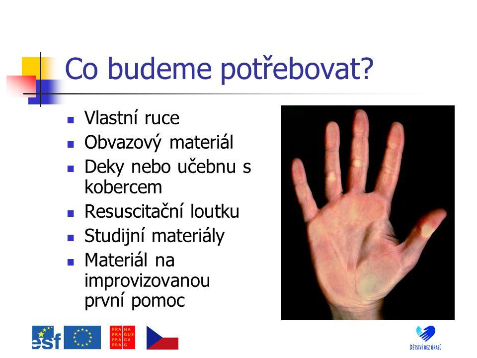 Co budeme potřebovat? Vlastní ruce Obvazový materiál Deky nebo učebnu s kobercem Resuscitační loutku Studijní materiály Materiál na improvizovanou prv