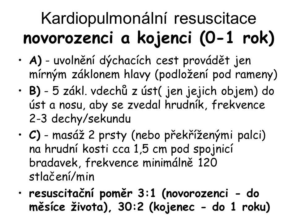 Kardiopulmonální resuscitace novorozenci a kojenci (0-1 rok) A) - uvolnění dýchacích cest provádět jen mírným záklonem hlavy (podložení pod rameny) B)