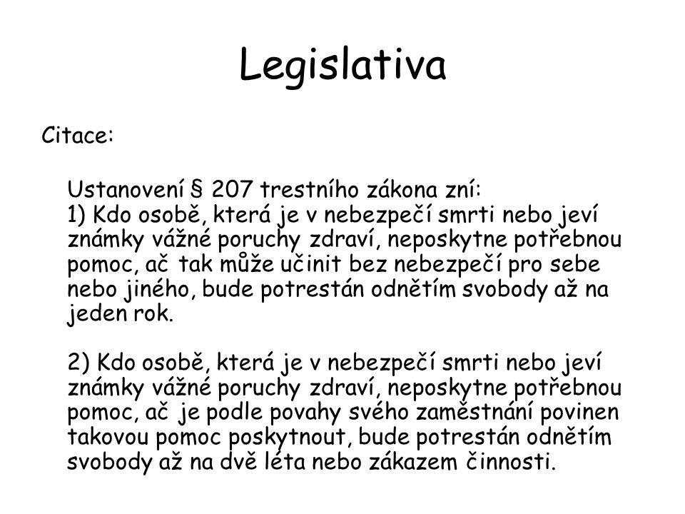 Legislativa Citace: Ustanovení § 207 trestního zákona zní: 1) Kdo osobě, která je v nebezpečí smrti nebo jeví známky vážné poruchy zdraví, neposkytne