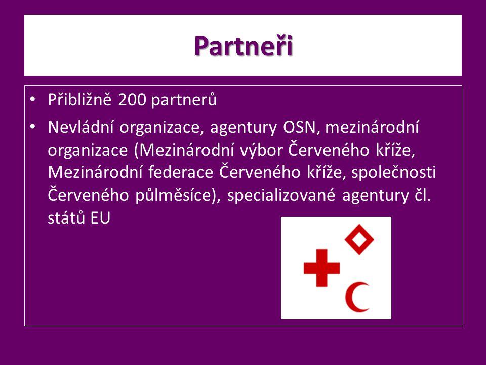 Partneři Přibližně 200 partnerů Nevládní organizace, agentury OSN, mezinárodní organizace (Mezinárodní výbor Červeného kříže, Mezinárodní federace Čer