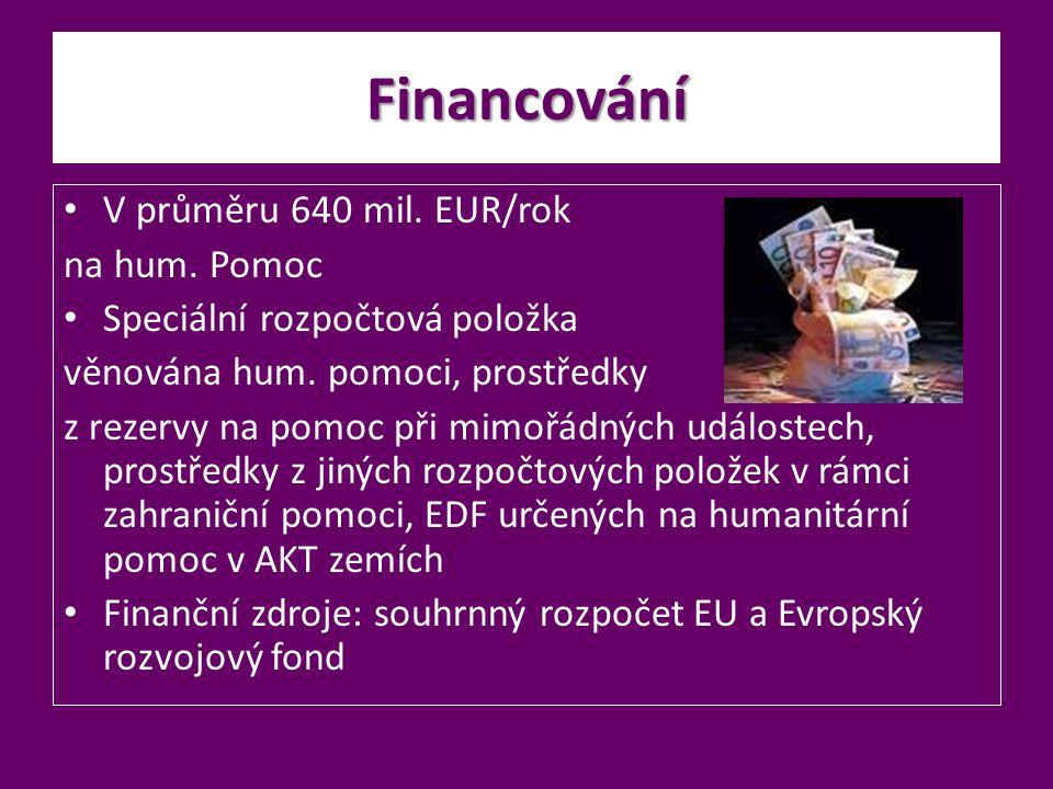 Financování V průměru 640 mil. EUR/rok na hum. Pomoc Speciální rozpočtová položka věnována hum. pomoci, prostředky z rezervy na pomoc při mimořádných