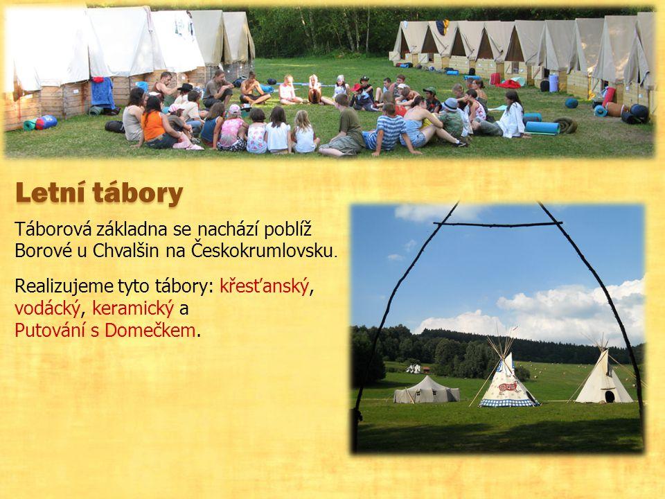 Letní tábory Táborová základna se nachází poblíž Borové u Chvalšin na Českokrumlovsku.