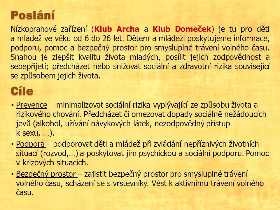 Poslání Nízkoprahové zařízení (Klub Archa a Klub Domeček) je tu pro děti a mládež ve věku od 6 do 26 let.