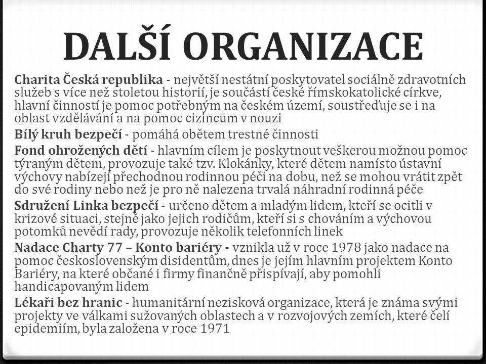 DALŠÍ ORGANIZACE Charita Česká republika - největší nestátní poskytovatel sociálně zdravotních služeb s více než stoletou historií, je součástí české