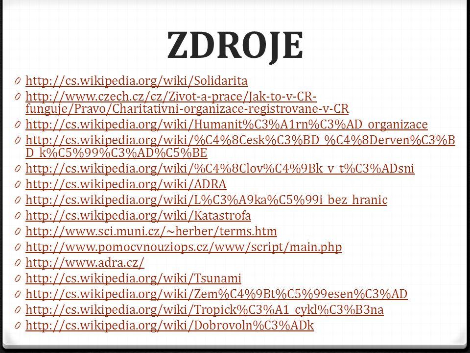 ZDROJE 0 http://cs.wikipedia.org/wiki/Solidarita http://cs.wikipedia.org/wiki/Solidarita 0 http://www.czech.cz/cz/Zivot-a-prace/Jak-to-v-CR- funguje/P