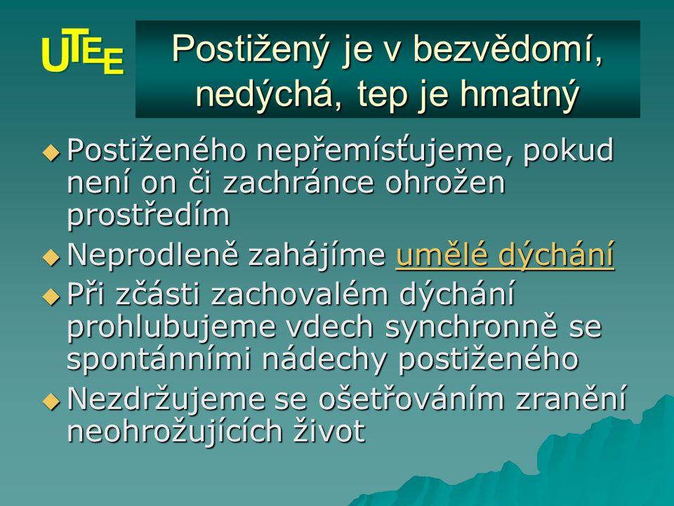 Stabilizovaná poloha  Dýchací cesty musí zůstat volné  Pravidelně kontrolujeme vědomí, dýchání i tep