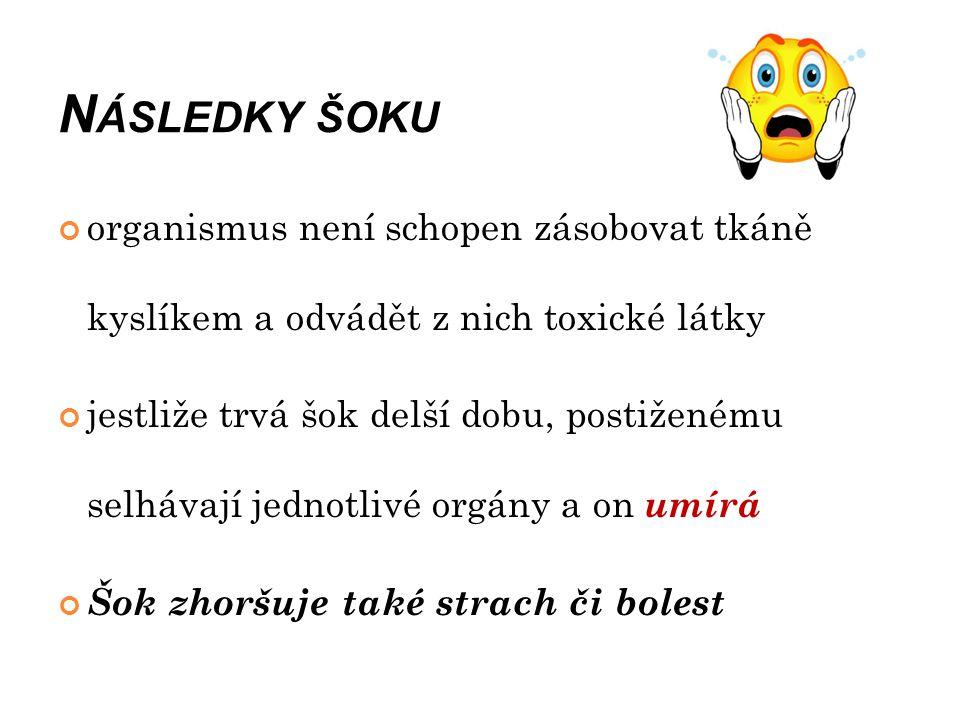 D RUHY ŠOKU A) hypovolemický šok B) anafylaktický šok (alergický) C) kardiogenní šok D) neurogenní šok