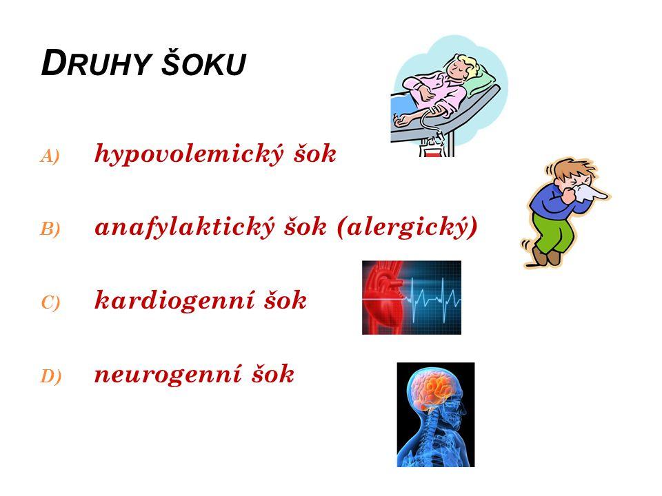 D RUHY ŠOKU A) hypovolemický šok Vzniká z důvodu ztrát cirkulujícího objemu krve.