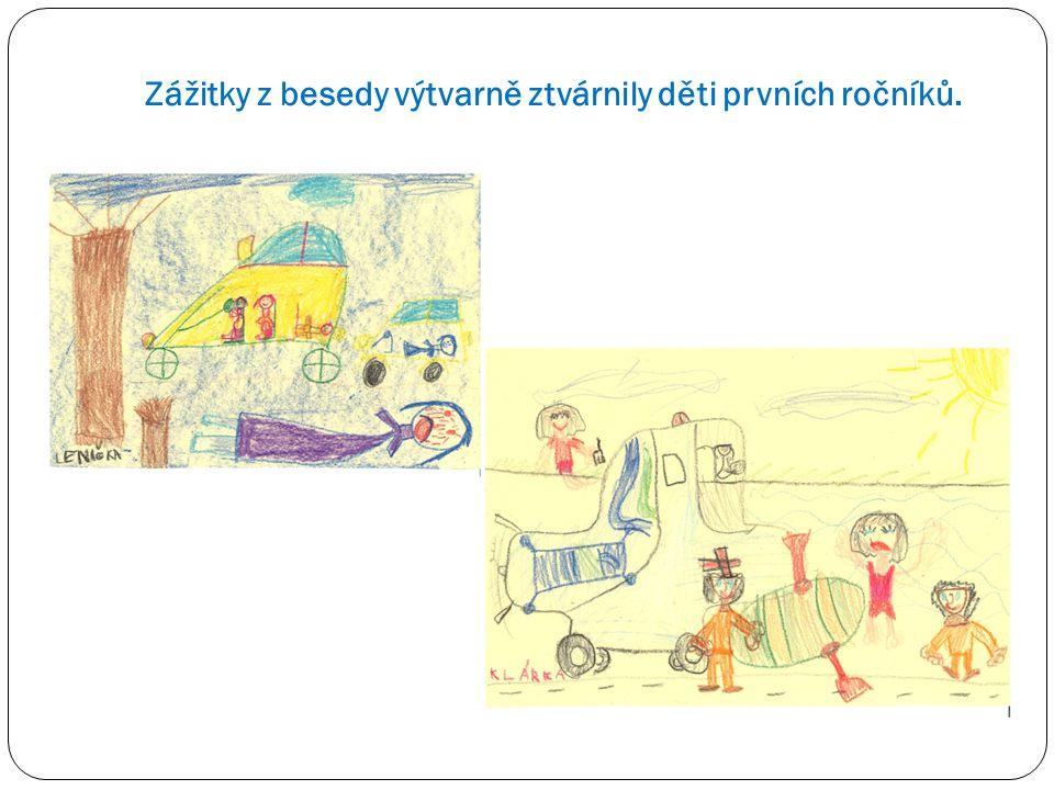 Zážitky z besedy výtvarně ztvárnily děti prvních ročníků.